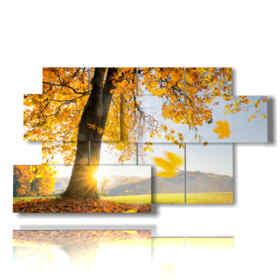 tableaux modernes avec des arbres feuilles jaunes