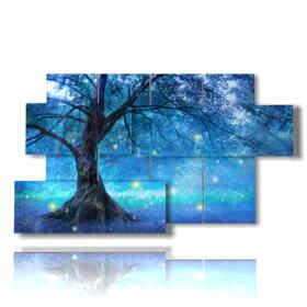 quadri con alberi stilizzati nelle luci blu