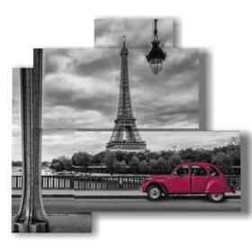 Paris Quadrat mit rotem Oldtimer