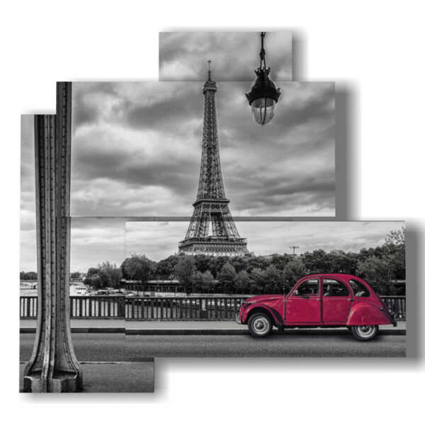 Paris square with red vintage car