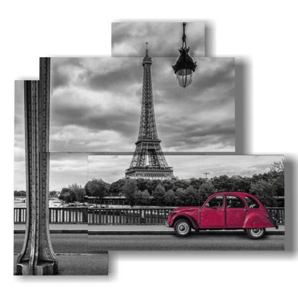 quadri Parigi con macchina vintage rossa