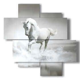 Modern picture painted white horse in water