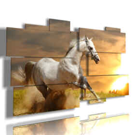 quadro corsa di cavalli verso il sole