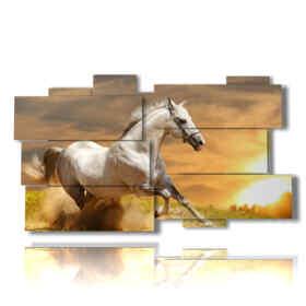 Tableau moderne course de chevaux vers le soleil