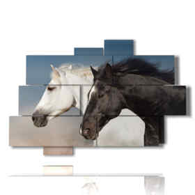 Modern paintings with white and black horses