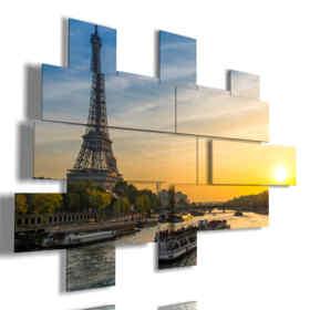 cuadro con fotos aéreas de París barcaza hacia el atardecer