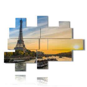 tableaux avec des photos aériennes péniche Paris dans le coucher du soleil