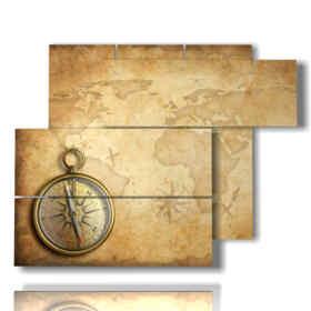 quadro con stampa mappamondo