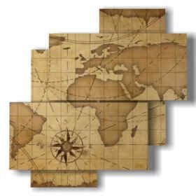 quadro cartina mondo antica