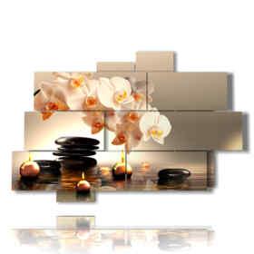 weiße Orchidee umgeben von Kerzen Bild während entspannende Wirkung