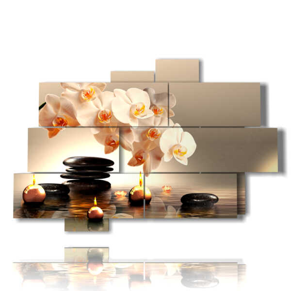 picture white orchid surrounded by candles while relaxing effect