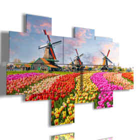 paintings with colored tulips in a typical landscape Dutch