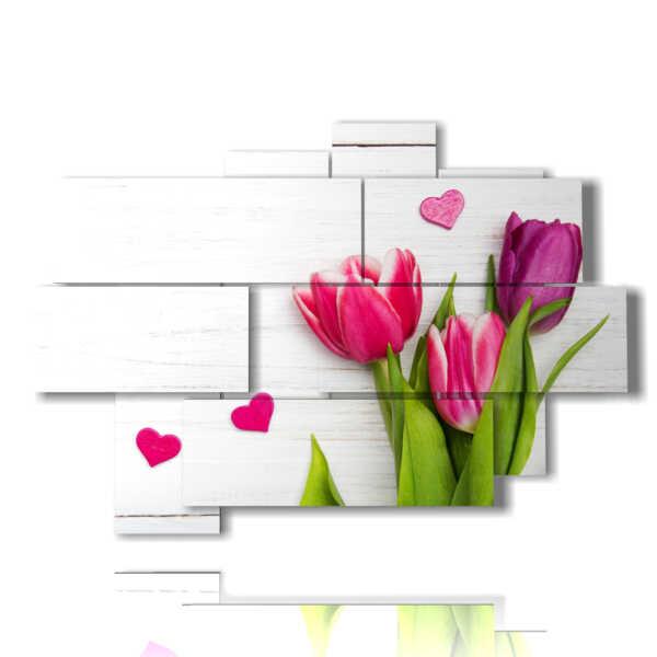 quadri di tulipani con cuoricini per innamorati MULTILIVELLO 3D Design