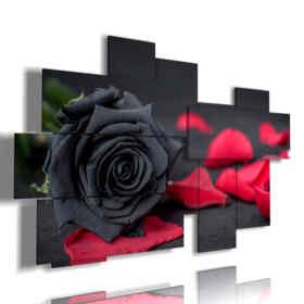 quadri di rose nere e petali rossi