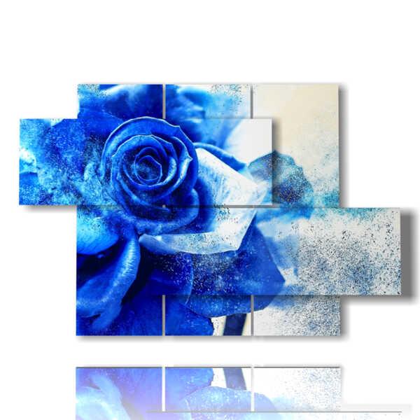 cuadro con rosas azules