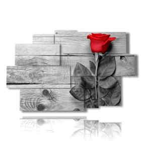 quadro con rosa rossa circondata di grigio