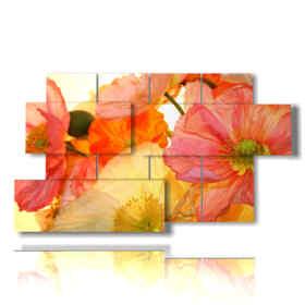 quadro con foto fiori di campo dipinti a mano