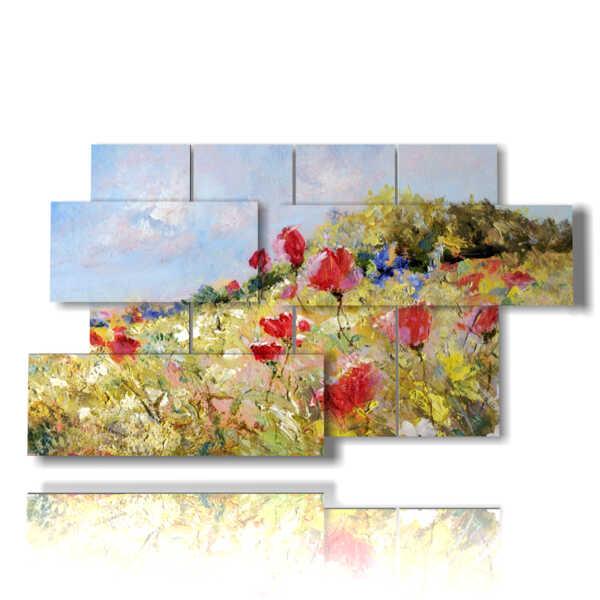 tableaux de fleurs de printemps dans un champ dessiné à la main