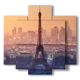painting Eiffel Tower at sunset