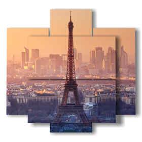 tableaux Tour Eiffel au coucher du soleil