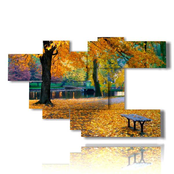 cuadro con paisajes imágenes de otoño la naturaleza
