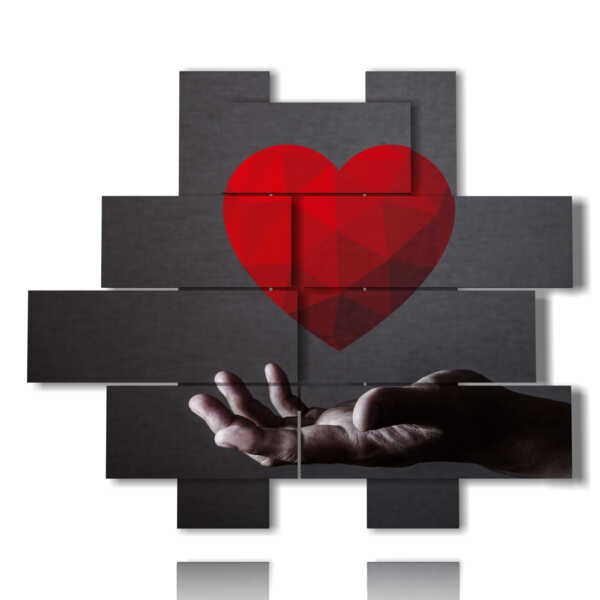 modern painting hearts in hand