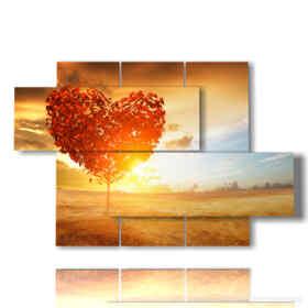 quadro albero cuore al tramonto