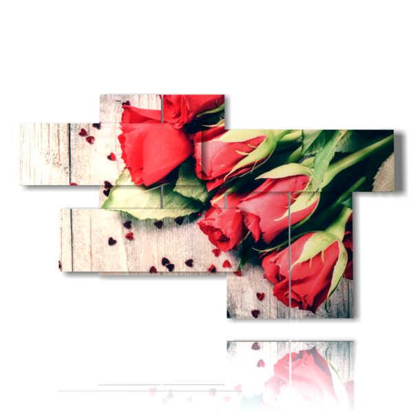 cuadros con corazones y rosas rojas