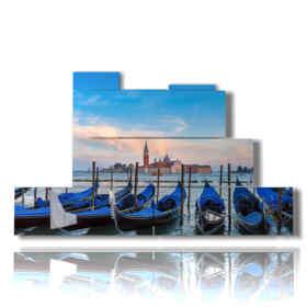 Tableaux modernes gondoles de Venise bleu moderne