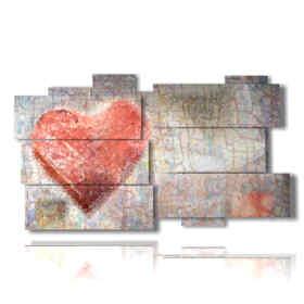 cuadros modernos con corazones dibujados