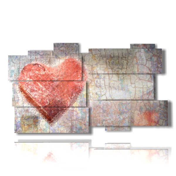 paintings with modern hearts drawn