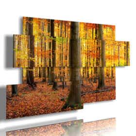quadro con foto di autunno montagna in giallo