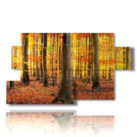 Tableau moderne avec des photos de montagne d'automne en jaune