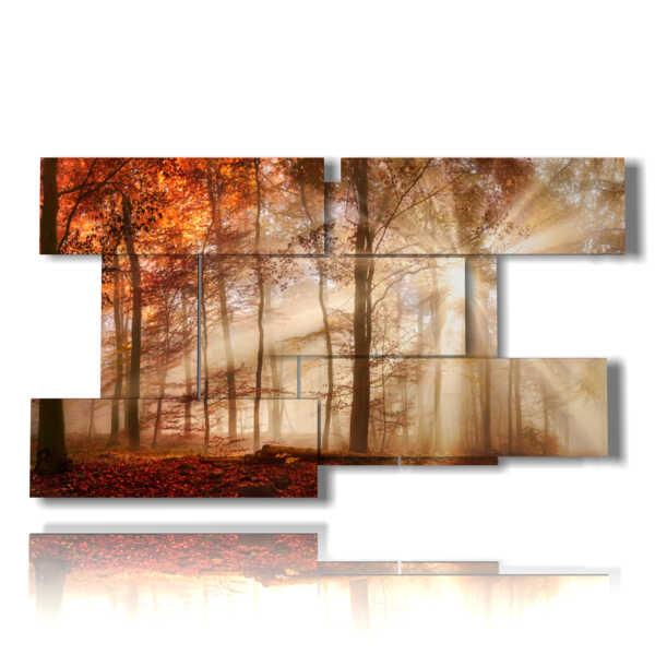 cuadro de cuadros con castañas de otoño entre la luz