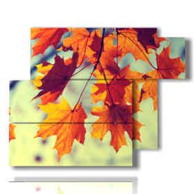Tableau moderne avec des photos d'automne avec des feuilles oranges