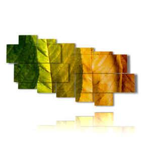 Tableau moderne automne arc en ciel feuilles