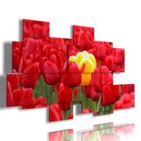 cuadros de tulipanes rojos que atraviesan amarillo