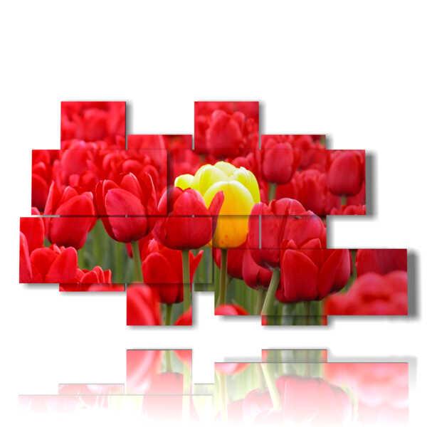 tableaux de tulipes rouges couvrant jaune