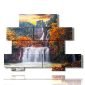 Modern paintings with waterfall in autumn