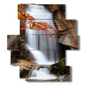 quadro cascata acqua in primavera