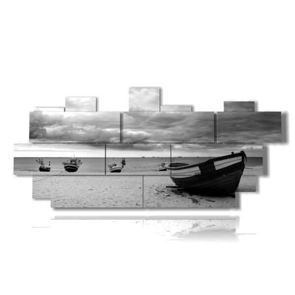 painting shore boat in black and white