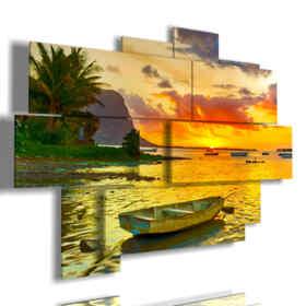 picture sea boat bright colors