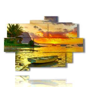 Photo du bateau de la mer des couleurs vives