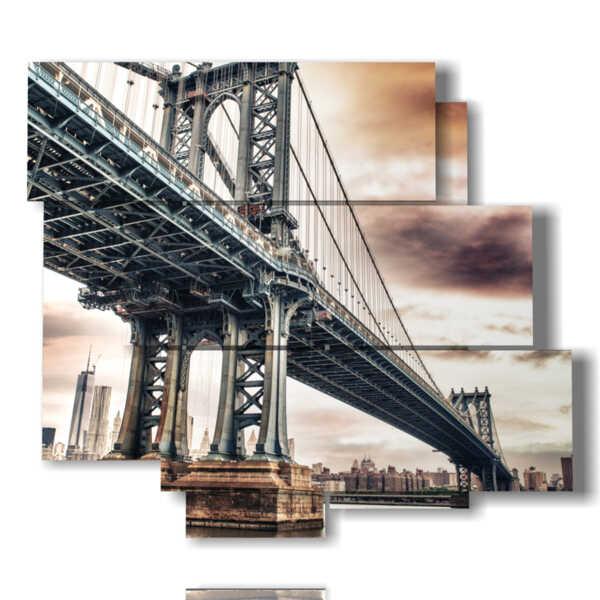 Quadri E Tele Moderne.Modern Picture Majestic Brooklyn Bridge Multipanel E Multilevel 3d