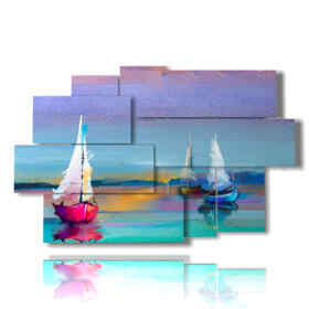 Modern paintings of sailing boats effect painting