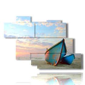 Tableau moderne bateaux au coucher du soleil à proximité