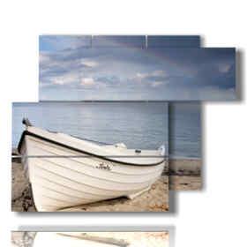 Tableau moderne bateau échoué dans le sable