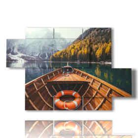 Tableau moderne bateau sur le lac de montagne