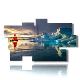 Tableaux modernes de bateaux et d'icebergs