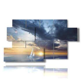 la barca a vela quadro nel tramonto